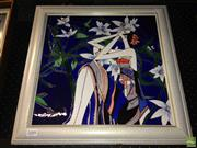 Sale 8622 - Lot 2088 - Artist Unknown - Woman Amongst Lilies 49 x 49cm (frame size)