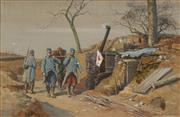 Sale 8722A - Lot 5058 - Jean Jacques Berne-Bellecour (1874 - 1939) - WWI Military Scene, 1915 28.5 x 44.5cm