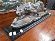 Sale 8688 - Lot 1007 - Silver Coloured Stalking Leopard Figure