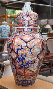 Sale 8746 - Lot 1041 - Large 19th century Imari porcelain vase with high domed cover and shishi finial, intricately painted with floral motifs and reserves...