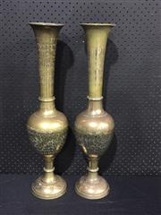 Sale 9034 - Lot 1005 - Pair of Ornate Etched Brass Vases (H:62cm)