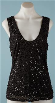 Sale 9090F - Lot 145 - A CARLA ZAMPATTI SCOOP NECK BLACK TANK TOP; applied square sequins and beads to front and back, size L.