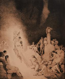 Sale 9150 - Lot 591 - NORMAN LINDSAY (1879 - 1969) - Death in The Garden 32 x26cm (frame: 60 x 50 x 4 cm)