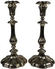 Sale 8057 - Lot 30 - English Hallmarked Sterling Silver Victorian Pair of Candlesticks
