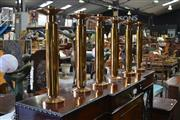 Sale 8093 - Lot 1775 - Set of Six Heavy Brass Ecclesiastical Church Candle Sticks