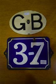 Sale 8550 - Lot 1001 - Enamelled Street Number Sign 37 and GB Car Plate
