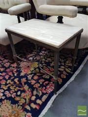 Sale 8554 - Lot 1029 - Pair of Marble Top Side Tables