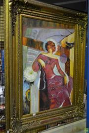 Sale 8563T - Lot 2235 - Artist Unknown Women in Interior Scene, acrylic on synthetic canvas, 92 x 123cm (frame) signed lower