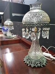 Sale 8669 - Lot 1008 - Pair Of Cut Crystal Mushroom Lamps With Hanging Drops