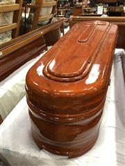 Sale 8697 - Lot 1613 - American Mahogany Coffin with Lined Interior & Glass Viewing Lift Top (H: 195 x W: 62 D: 48cm)