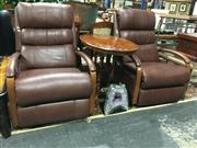 Sale 8795 - Lot 1019 - Pair of Leather Reclining Chairs