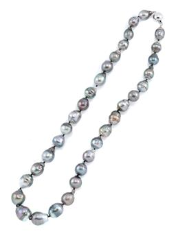 Sale 8954 - Lot 347 - A TAHITIAN PEARL NECKLACE; 9-12mm round cultured baroque circle pearls of good lustre to 14ct white gold ball clasp, length 45cm.