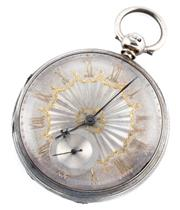 Sale 8915 - Lot 357 - A STERLING SILVER OPEN FACE POCKET WATCH; silver dial, applied gilt Roman numerals, subsidiary seconds, fusee movement, case diam. 5...