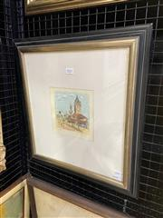 Sale 9041 - Lot 2021 - Pro Hart, The Town Clock, 1982, hand-colour etching ed. AP, 15 x 12cm, frame: 45 x 43cm, signed lower right