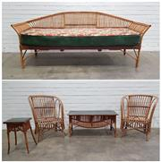 Sale 9076 - Lot 1094 - Vintage Extensive Cane Lounge Suite With Three Seater, Pair Of Armchairs, Glass Top Coffee Table & Glass Top Side Table