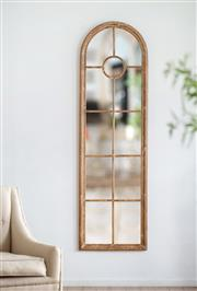 Sale 9075T - Lot 31 - An arched window form panelled mirror. The fir wood frame finished in a highly distressed whitewash in a rustic coastal style. H:...