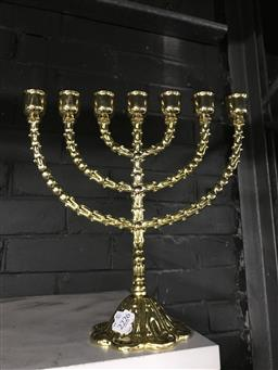 Sale 9101 - Lot 2213 - Gold Coloured Metal Seven Arm Menorah