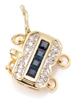 Sale 9132 - Lot 345 - A 14CT GOLD SAPPHIRE AND DIAMOND NECKLACE CLASP; centring 4 square cut blue sapphires flanked by 10 single cut diamonds, attached wi...