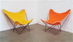 Sale 9171 - Lot 1017 - Pair of vintage butterfly chairs with covers (h87 x d91cm)