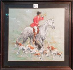 Sale 9208 - Lot 2046 - Mixed Media of Hunting Scene, signed and dated 1990