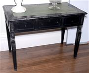 Sale 8048A - Lot 17 - A French style black painted desk with green leather top and three drawers. 80 (h) x 108 (w) x 60 (d)