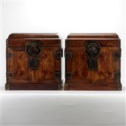 Sale 8162 - Lot 34 - Huali Matched Pair of Table Top Chests, Guanpixiang