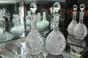 Sale 8311 - Lot 25 - Heavily Cut Crystal Decanter & Another Similar Example