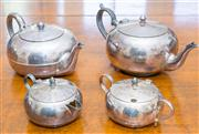 Sale 8402H - Lot 67 - Two EP teapots of compressed globular form, together with matching milk and sugar.