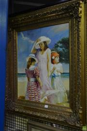 Sale 8563T - Lot 2239 - Artist Unknown Beach Day acrylic on synthetic canvas, 88 x 79cm (frame) signed lower