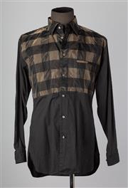Sale 8661F - Lot 24 - An Issey Miyake mens black cotton shirt with a printed nylon check overlay size L, no. ME79-FJ150