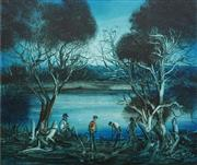 Sale 8692 - Lot 551 - Kevin Charles (Pro) Hart (1928 - 2006) - Checking the Yabbie Nets 44 x 54.5cm