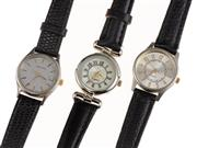 Sale 8866 - Lot 543 - A LADYS CERTINA QUARTZ WATCH AND TWO OTHERS; Certina ref. EOL 2086, with grey dial, applied markers, center seconds, quick set date...