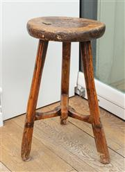 Sale 8838H - Lot 63 - An C18th English three legged joint oak stool. Height 48cm