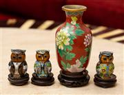 Sale 8882H - Lot 81 - A Chinese cloisonne vase with peonies together with three cloisonne owls, tallest 13cm