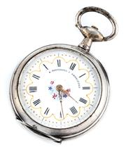 Sale 8915 - Lot 360 - A LADYS SILVER OPEN FACE POCKET WATCH; white dial, Roman numerals, key wind and set, case diam. 33mm, not working.