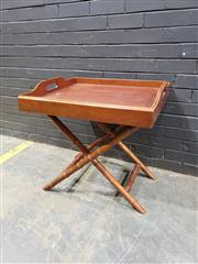 Sale 9017 - Lot 1008 - Timber Tray On Leather Strapped  Folding Timber Stand (H71 x W60 x D70cm)