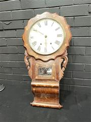 Sale 9068 - Lot 1055 - Victorian Act of Parliament Wall Clock, carved & inlaid, with shaped face & white dial, pendulum window & scrolled base (one round...
