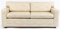 Sale 9099 - Lot 118 - A sofa bed; upholstered in a diamond patterned fabric. Height of back 70cm x Length 182cm x Depth 86cm
