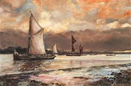 Sale 9125 - Lot 636 - Pauline Lord Golden Dawn - Thames Barges, 1975 oil on canvas 39.5 x 60 cm (frame: 55 x 75 x 4 cm) signed and dated lower right