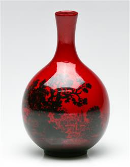 Sale 9190 - Lot 98 - A Doulton Flambe woodcut vase, stamped 1608 (H: 11cm)