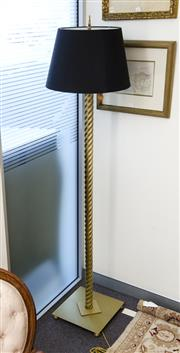 Sale 8205 - Lot 2 - A contemporary brass column standing lamp, with black shade, H 176cm