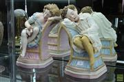 Sale 8256 - Lot 58 - Bisque Pair of Sleeping Figures, signed RJ Morris