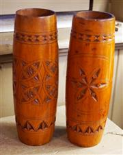 Sale 8320 - Lot 912 - Pair of cylindrical wooden chip carved vases circa 1920