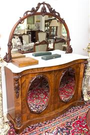 Sale 8341A - Lot 53 - A Victorian walnut marble topped mirror back two door Credenza, H 160 x W 135 x D 40cm