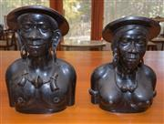 Sale 8368A - Lot 94 - A pair of impressive carved timber ebonised busts, taller H 35cm