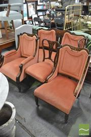Sale 8406 - Lot 1147 - Late Victorian Mahogany Four Piece Parlour Setting, comprising settee, gentlemans, ladys & side chairs, having rosewood marquetry...