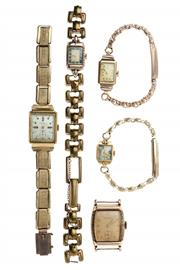 Sale 8426 - Lot 326 - A GROUP OF VINTAGE GOLD WATCHES (5); a Gents Lonville and Ladys Relide in 14ct, Gents Relience, Ladys Cyprus and another in 9ct,...