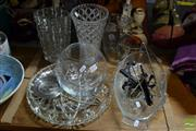 Sale 8548 - Lot 2370 - Collection of Glasswares incl. Fish Dishes, Platters, Vases, etc & Pewter Dish