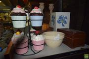 Sale 8563T - Lot 2456 - Group of Sundries incl. Jardiniere, Candle Holders, Cup Cake Stand, Vases, Bowls, etc