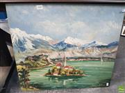 Sale 8563T - Lot 2080 - Artist Unknown Lake Scene, Slovakia, oil on board, 51 x 56cm (frame) signed lower right